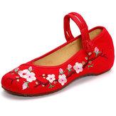 プラム中国刺繍バックル丸いつま先の靴
