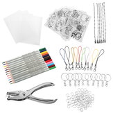 156Pcs Heat Shrink Plastic Sheets Kit Shrinky Art Paper Hole Punch Keychains DIY