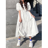 Casual Loose Round Neck Short Sleeve Solid Color Pleated Maxi Dress