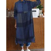 チェック柄プリントターンダウン襟長袖女性のための不規則な裾ボタンシャツドレス