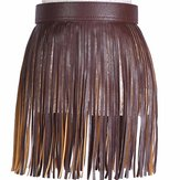 Vrouwen Tassel Fringed Belts Leather Snap Button Buckles