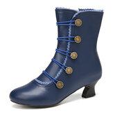 Женщины сплошной цвет синтетическая кожа сращивание удобные носимые боковые молнии каблук короткие Ботинки