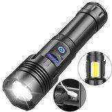 XANES® XHP70 LED + COB Zumlanabilir El Feneri Cep Telefonu Güç Bankası Süper Parlak 7 Modu COB Sidelight ile USB Şarj Edilebilir LED Fener