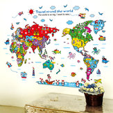 Animales de dibujos animados World Map Pegatinas de pared para niños Decoraciones de la habitación Safari Mural Art Zoo Niños Home Decals