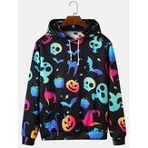 Heren Colorful Lichtgevende Halloween-sweatshirtprint losse hoodies met kangoeroezak