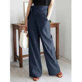 Women Casual Solid Color Asymmetrical Bandage Design Commute Wide Leg Pants