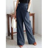 Vendaje asimétrico casual de color sólido para mujer Diseño Conmutación de pierna ancha Pantalones