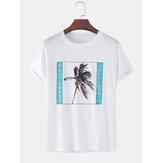 100% coton Coconut Tree T-shirts amples à manches courtes