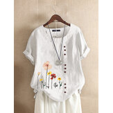 Flower Print O-neck Short Sleeves Button Casual T-shirts For Women