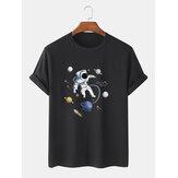 100% Algodão Designer Astronauta Imprimir manga curta respirável Camisetas