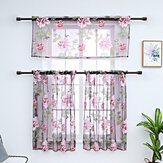 3 PCS Kitchen Curtain Washable Rod Pocket Curtain Tier Embroidered Floral Sheer Curtain
