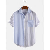 Mens 100% Cotton Patchwork Striped Turn Down Collar Short Sleeve Shirts