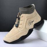 Hommes en cuir antidérapant portable Soft semelle élastique à lacets bottes décontractées