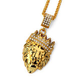 Hip Hop Fashion Gold Chain King Crown Lion Head Pendant Necklace for Men