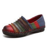 SOCOFY Genuine Leather Colorful Comfortable Flat Loafers