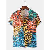 Colorido leopardo Zebra estampado mixto manga corta pecho bolsillo vacaciones ocio
