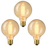 3ピースElfeland AC220-240V 2200K E27 G95 40ワットレトロエジソン白熱電球屋内家庭用