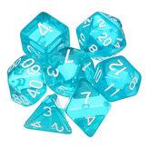 7 dés polyédriques de dés réglés dés multisided de gadget de RPG translucide avec le sac