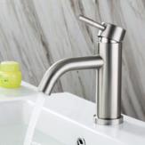 Edelstahl Bad Waschbecken Wasserhahn Einhand Einloch Heiß- und Kaltmischer Wasserhähne mit Schläuchen bleifrei