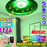 80W E27 Smart bluetooth Music Speaker RGBW LED Bulb UFO Ceiling Lamp KTV Home Decoration+Remote Control 95-265V
