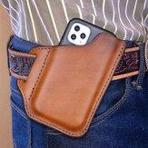 Erkekler Hakiki Deri Uygun Düz Renk 6.3 inç Telefon Kılıf Cüzdan Kemer Çanta Bel Çanta