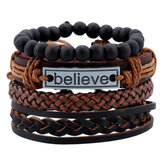 Vintage Leather Bracelet Believe Words Multilayer Bracelet