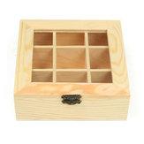 9 compartimentos de madera Té Bolsa Joyería Organizador Cofre de almacenamiento Caja Registro superior de vidrio