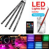 18 LED Colorful Intérieur de voiture Plancher RVB Bande Barre lumineuse Lampe au néon Télécommande