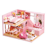 1:24 Wooden 3D DIY Handmade Assemble Miniature Doll House Kit Toy with Furniture for Kids Gift Collection