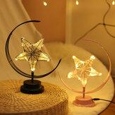 Battery/USB Powered Warm Light Black/Pink Star Moon Night Light Desk Lamp Birthday Gift