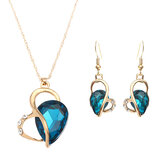 Heart Jewelry Set Water Drop Rhinestone Crystal Earrings Necklace Set Gift for Women