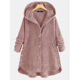 Women Corduroy Solid Color Side Button Coats Long Sleeve Hooded Jacket With Pocket