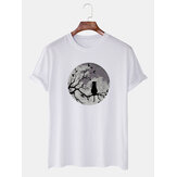 Mens Funny Moon & cat Graphic Printed Casual Short Sleeve Breathable T-Shirts