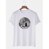 Mens Funny Moon & Cat Grafik gedruckt Casual Kurzarm Atmungsaktive T-Shirts
