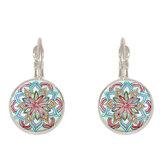 Bohemian Vintage Ear Drop Copper Colorful Flower Earrings