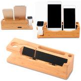 Multi-função de madeira de mesa de carregamento USB Stand Holder para iWatch iPhone Smartphone Tablet