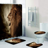 Lion Pattern Waterproof Fabric Shower Curtain Toilet Cover Mats Non-Slip Rugs Bathroom Set for Bathroom Decor