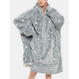 Women Star Pattern Fluffy Flannel Wearable Blanket Hoodie Fleece Lined Warm Oversized Robe