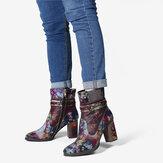 SOCOFY Retro Colorful Padrão Couro Genuíno Lindas botas de salto alto com zíper