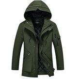 Mens Multi-pocket Mid-long Winter Thick Warm Jacket
