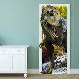 88X200cm pag imitative door 3d mur autocollant feu dragon tyrannosaurus dinosaure mur cadeau décoration