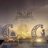 Wooden Ramadan Eid Mubarak Moon Star Islam Hanging Pendant Plate with LED String Light