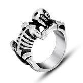 Monilidell'anellodischeletrodell'anellodel cranio dell'acciaio di titanio di Halloween Punk