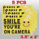 5 Adet Gülümseme Açık Kamera Kendinden tutumlu Video Alarmı Güvenliği Kamera Çıkartmaları İmzalıal