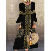 Women Baroque Print Long Sleeve Ethnic Style Bohemian Maxi Dresses