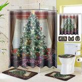 Веселая елка занавеска для душа коврик для ванны подставка коврик крышка унитаз коврик для Ванная комната 2020 рождественские украшения