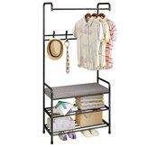 Floor Cloth Shelf Coat Hat Rack Floor Standing Hanger Anti-rust Metal Iron Clothing Hanging Storage Shelf Organizer