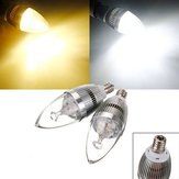 E12 3W 3 LED White/Warm White LED Silver Candle Light Bulb 85-265V