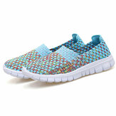Women Hand-Made Knitting Outdoor Casual Flat Shoes