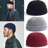 Unisex Solid Color Strickwolle Hut Skull Cap Beanie